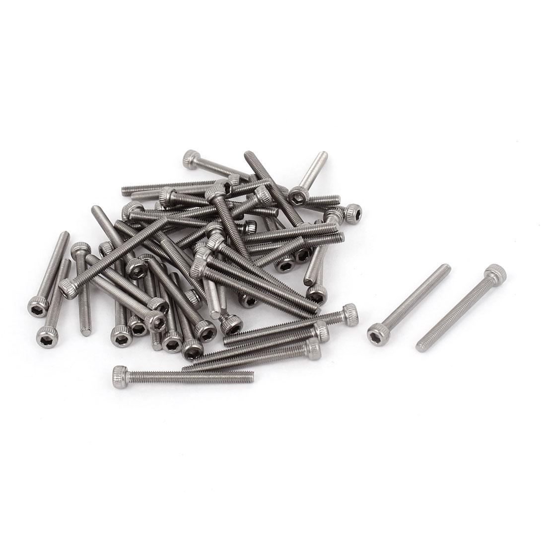 M3x30mm 0.5mm Pitch Stainless Steel Bolts Socket Cap Head Hex Key Screws 50pcs