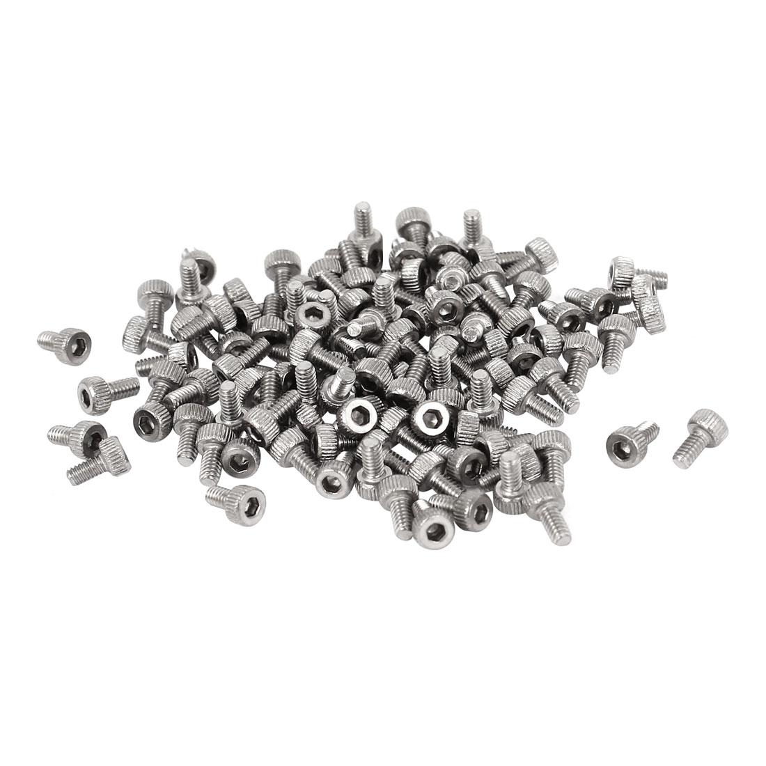 M2x4mm Thread Stainless Steel Hex Key Socket Head Knurl Cap Screws Bolts 100pcs