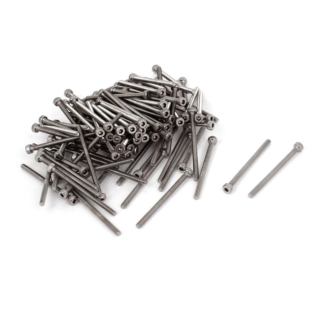 100 Pcs M2x30mm Stainless Steel Hex Key Socket Head Cap Machine Screws 32mm Long
