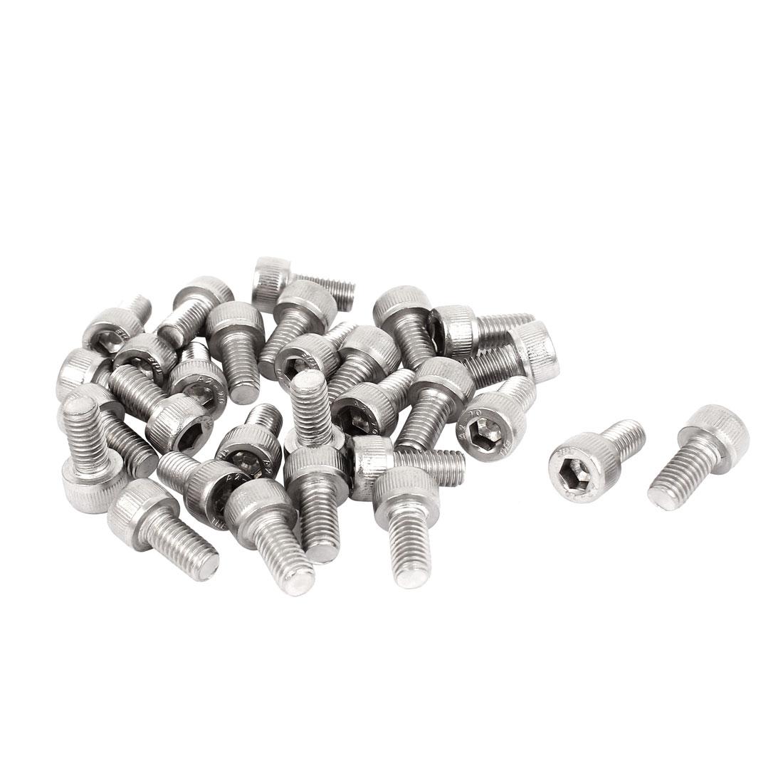 30 Pcs 0.8mm Pitch M5x10mm Stainless Steel Hex Key Socket Head Cap Screws Bolts