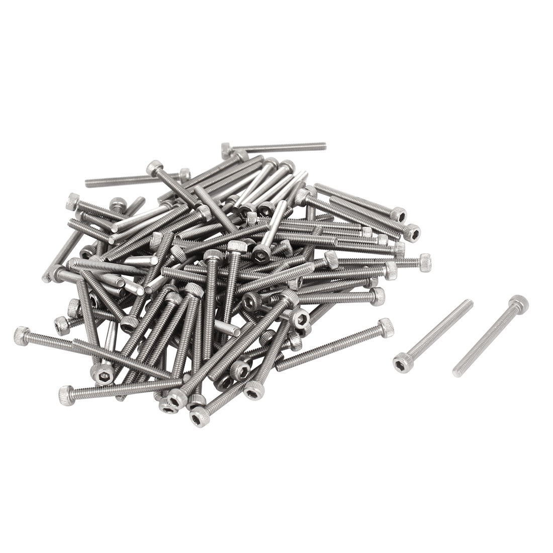 M2.5x25mm 0.45mm Pitch Stainless Steel Bolts Hex Socket Cap Head Screws 100pcs