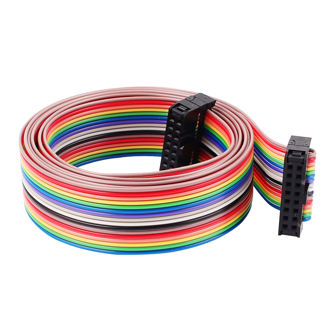 2.54mm Pitch 16Pin 16 Way F/F Connector Rainbow Wire IDC Flat Ribbon Cable 3.8ft