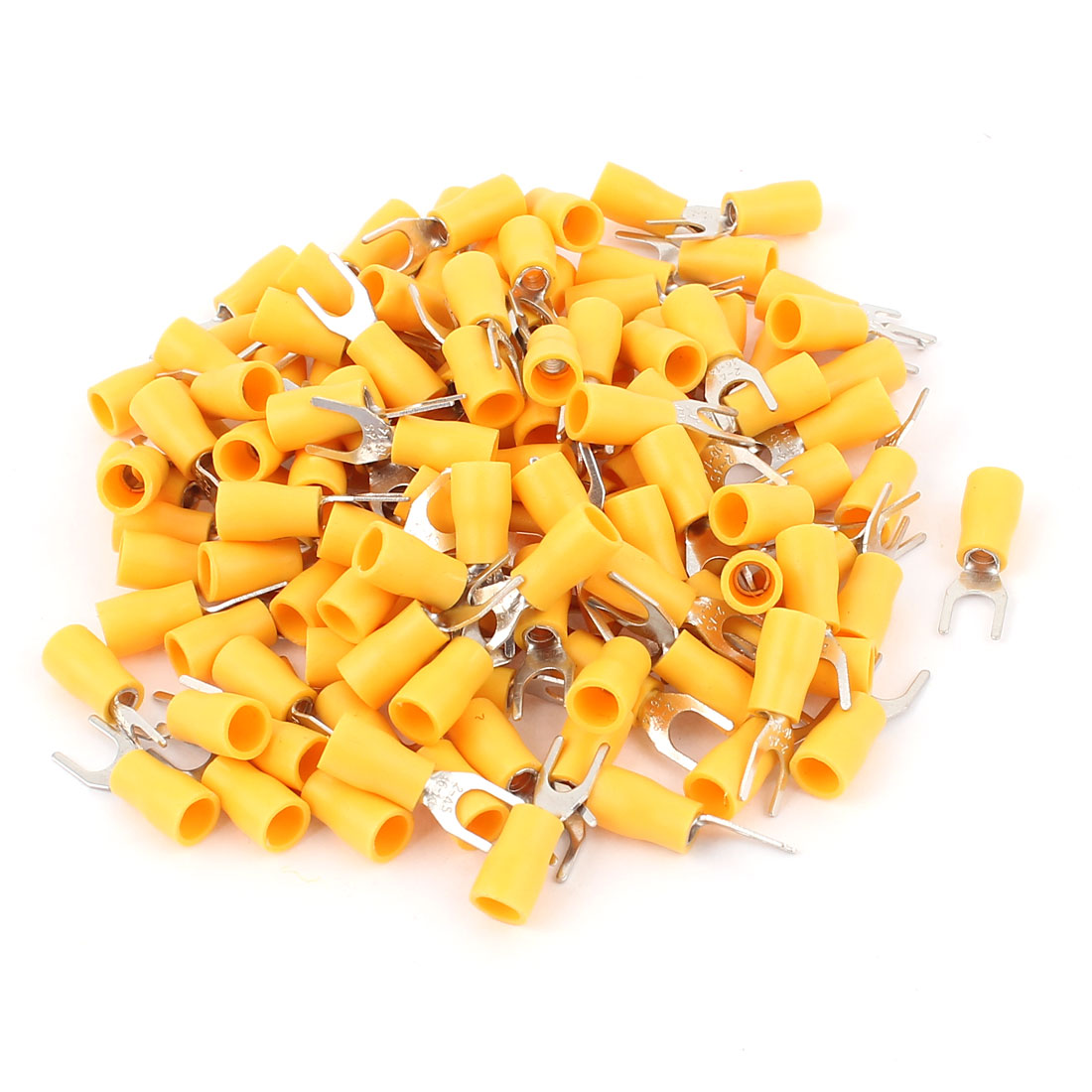 125Pcs Yellow Electrical Crimp Cable Connector Insulated Fork Terminals 16-14AWG