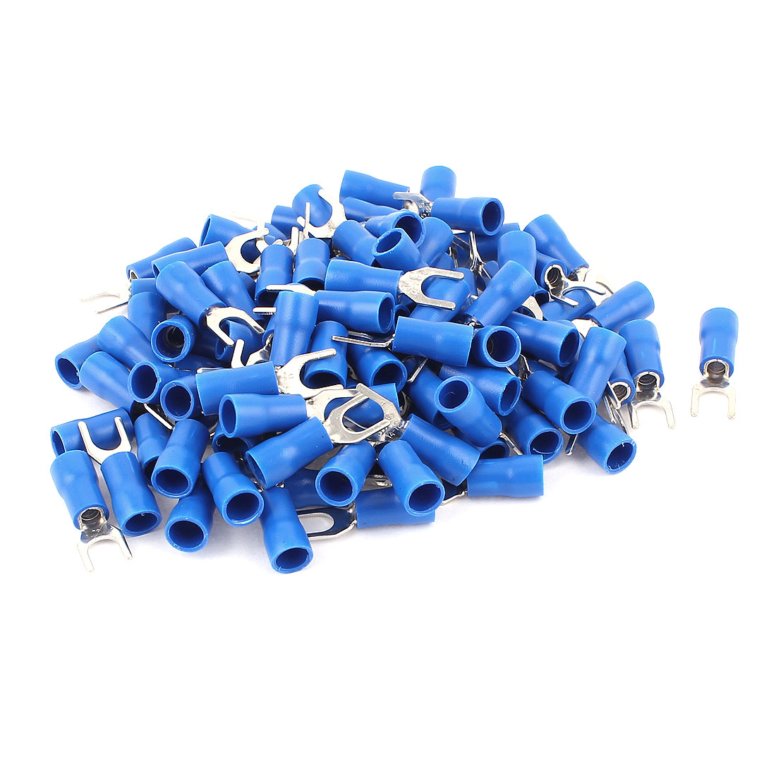 105Pcs Blue Electrical Crimp Wire Connector Insulated Fork Terminals 2.5-4mm2