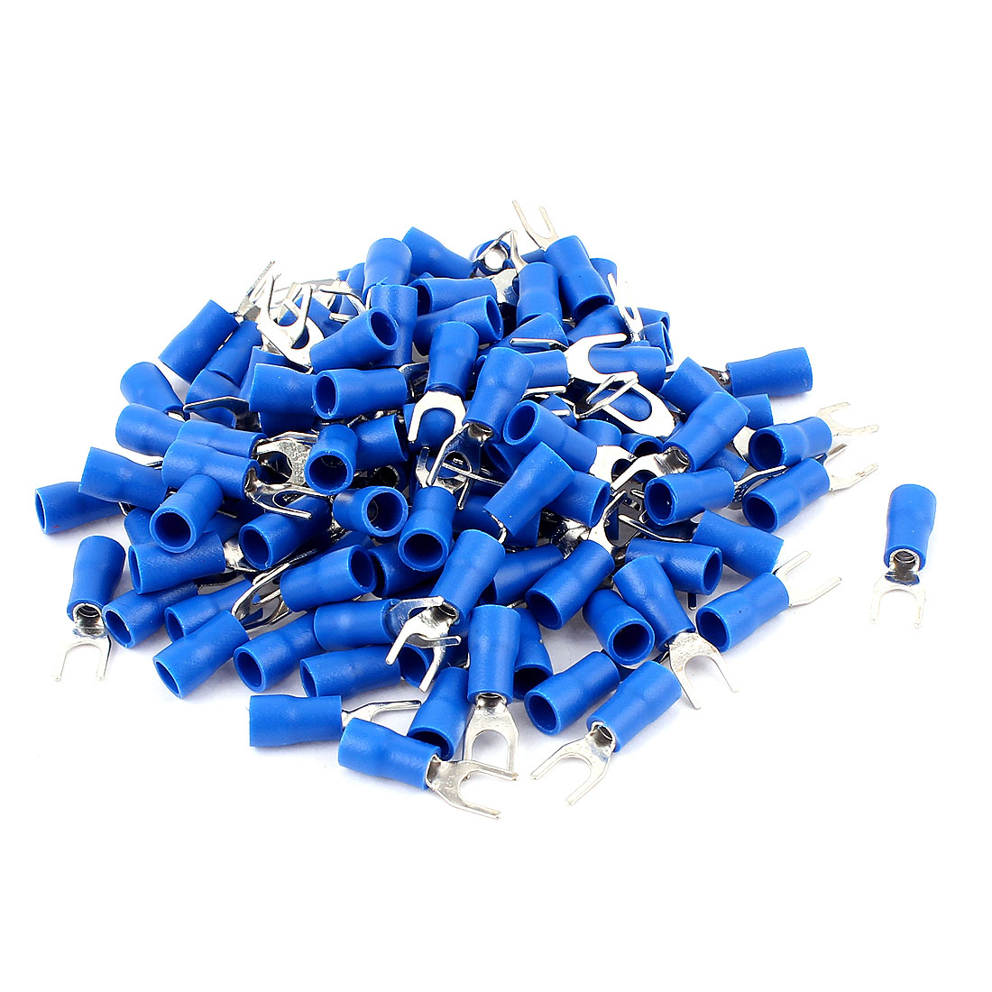 125Pcs Blue Electrical Crimp Wire Connector Insulated Fork Terminals 16-14AWG