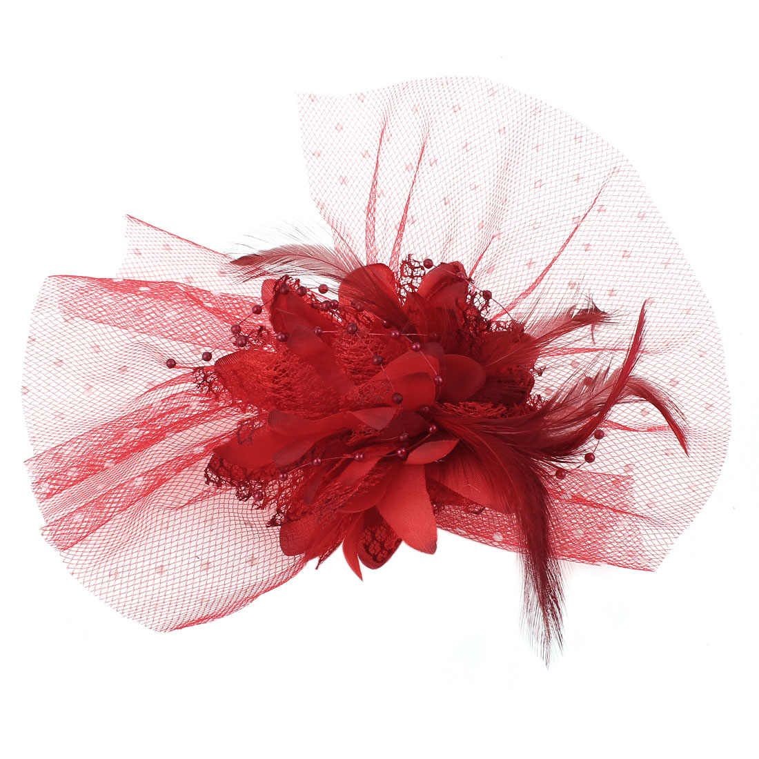 Wedding Party Dots Mesh Faux Feather Flower Lace Accent Red Safety Pin Brooch Breastpin Alligator Hairclip Hair Clip