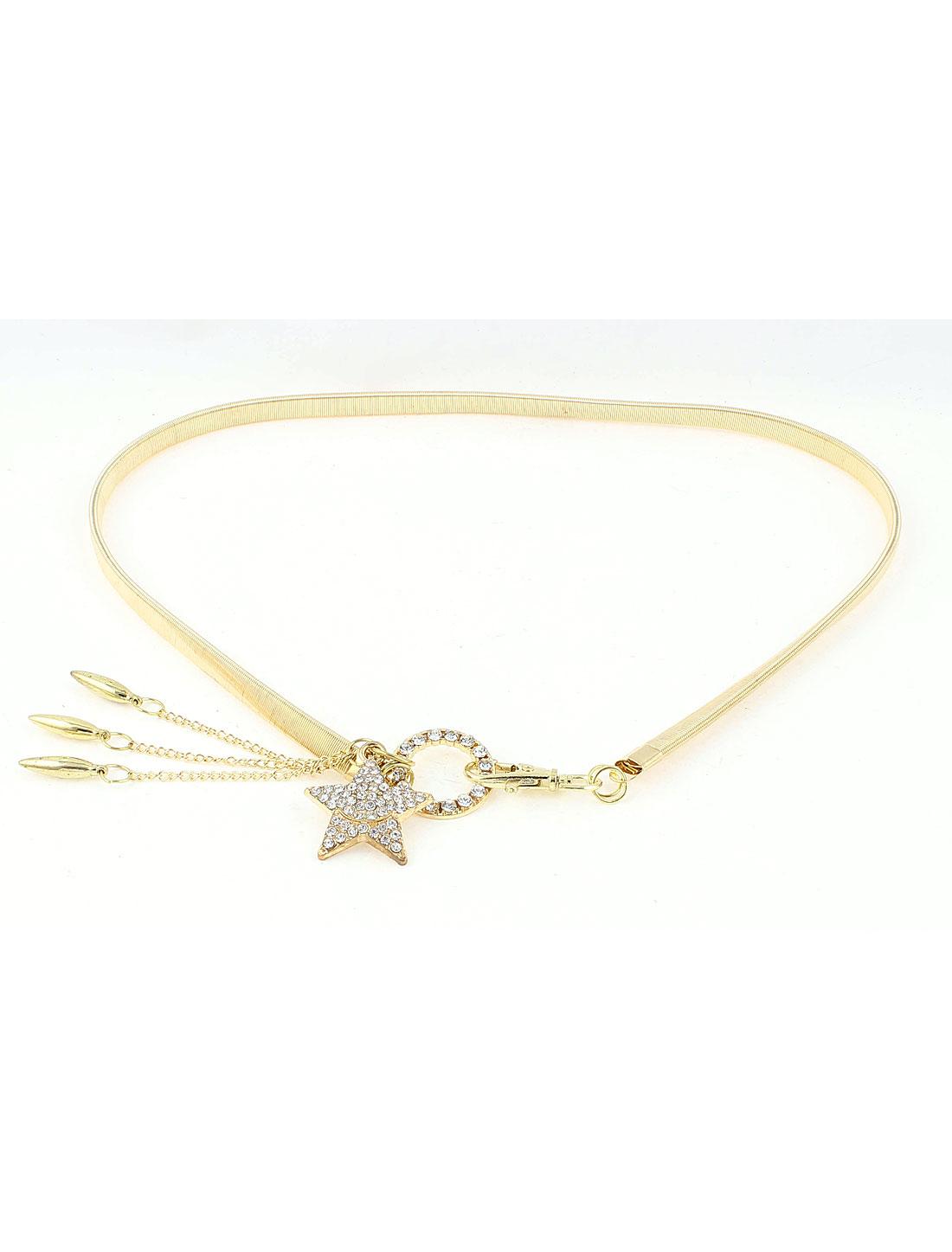 Woman Blouse Dress Match Lobster Buckle Rhinestone Inlaid Star Circle Gold Tone Metal Elastic Waistbelt Waist Belt Chain