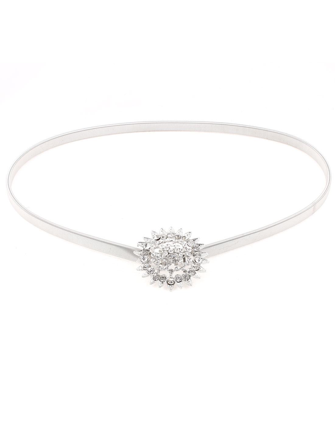 Lady Blouse Dress Match Rhinestone Inlaid Flower Shaped Interlocking Buckle Metal Elastic Waistbelt Waist Belt Chain Silver Tone