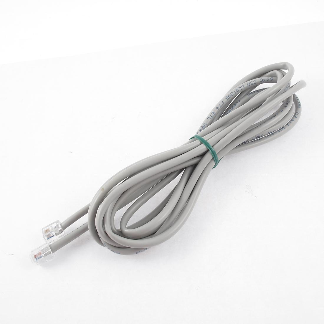 9.8Ft Length 6P4C RJ11 Telephone Extension Fax Modem Cable Line Gray