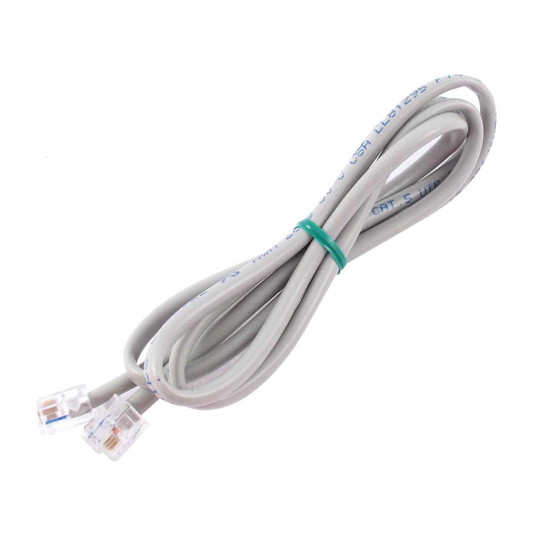 3.3Ft Length 6P4C RJ11 Telephone Extension Fax Modem Cable Line Gray