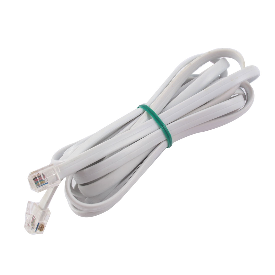9.8Ft Length 6P6C RJ11 Telephone Extension Fax Modem Cable Line White