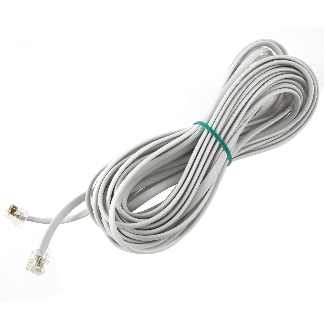 33Ft Length 6P6C RJ11 Telephone Extension Fax Modem Cable Line Grey