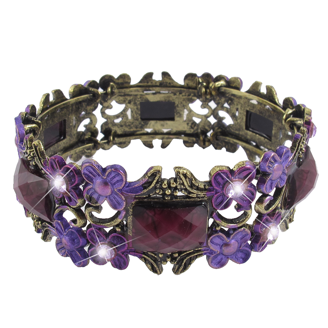 Women Purple Crystal Accent Adjustable Wrist Cuff Bracelet Bangle Bronze Tone