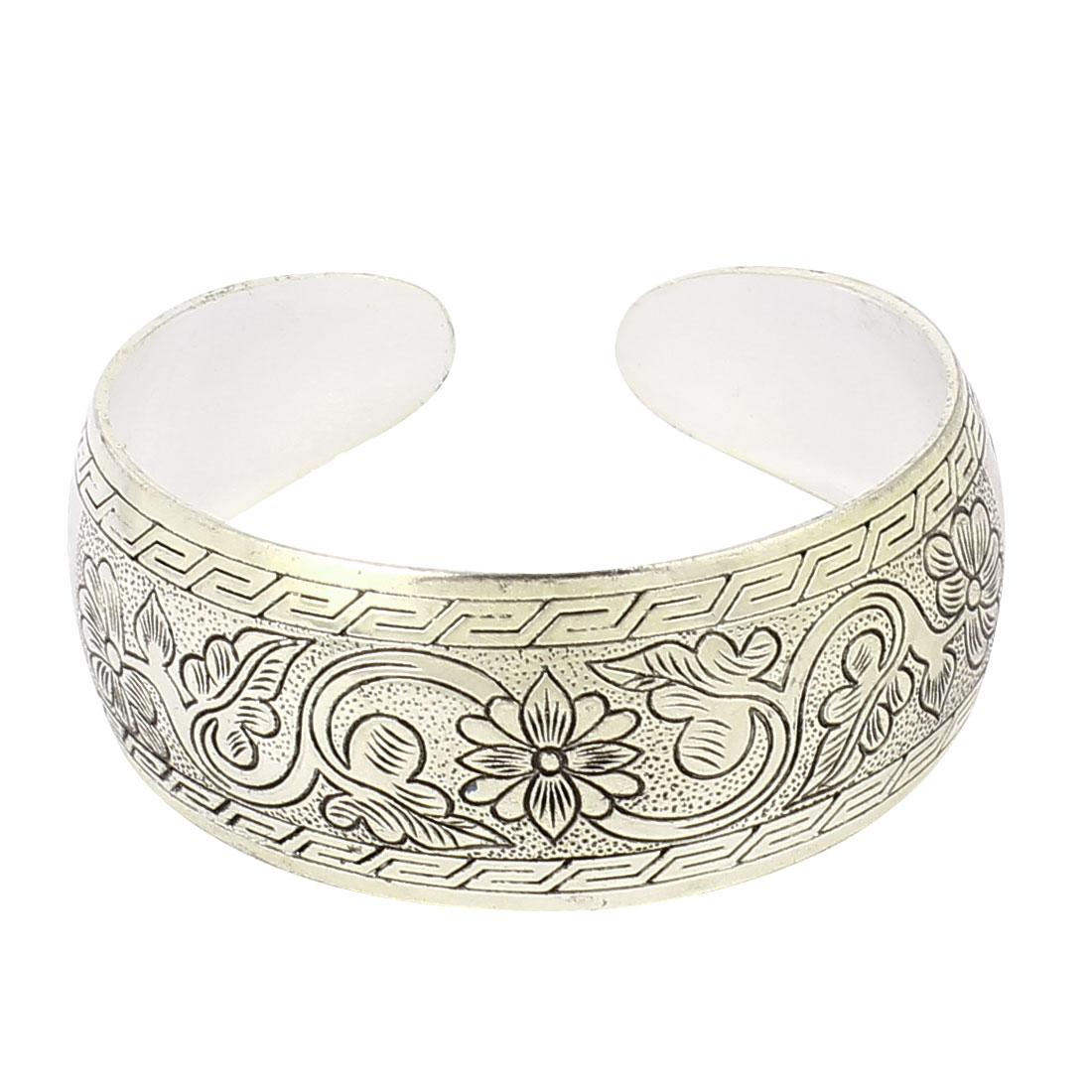 Lady Ethnic Style Carved Florals Wild Goose Pattern Wrist Cuff Bracelet Bangle