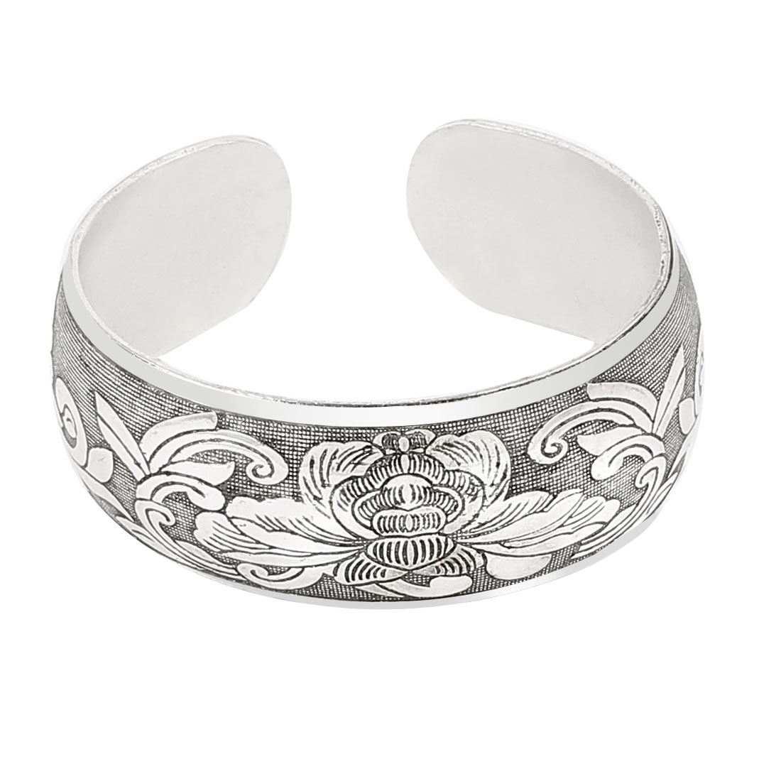 Woman Ethnic Style Carved Florals Pattern Alloy Wide Wrist Cuff Bracelet Bangle