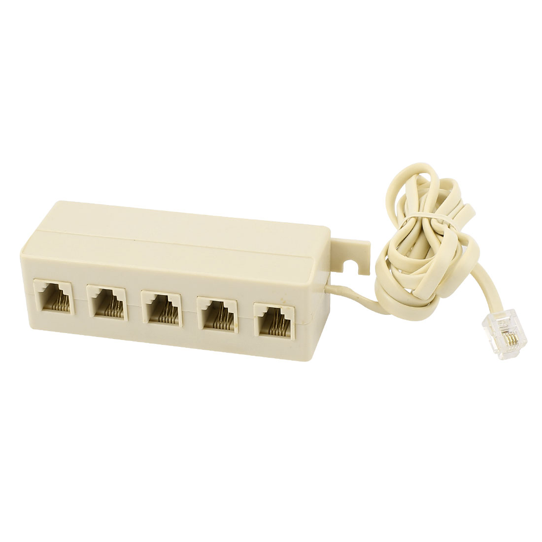 5 Way Outlet 6P4C RJ11 Telephone Phone Modular Jack Line Splitter Adapter Beige