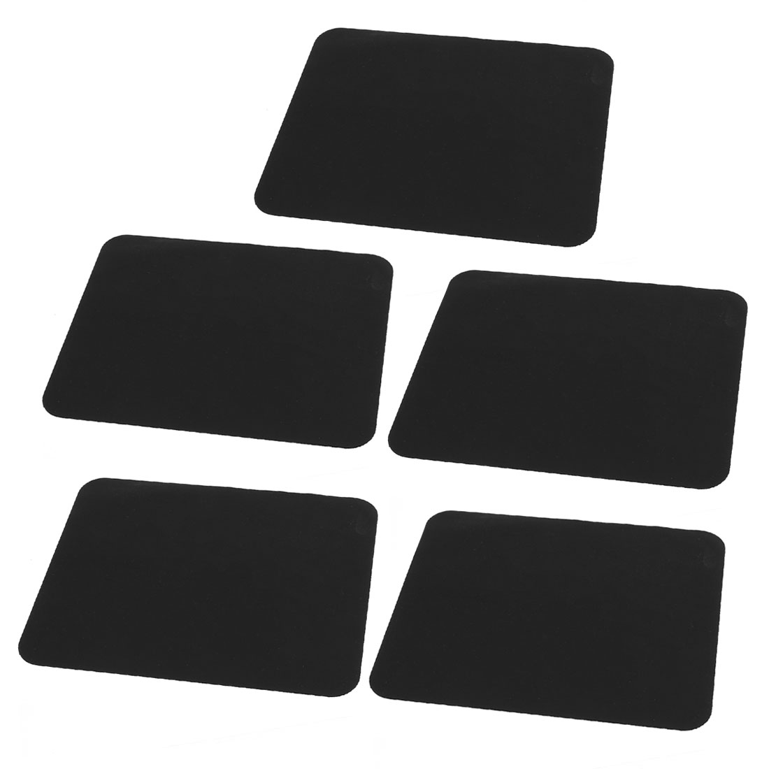 5 Pcs Black Soft Faux Leather Slip Gaming Mouse Pad Mat 210mmx170mm