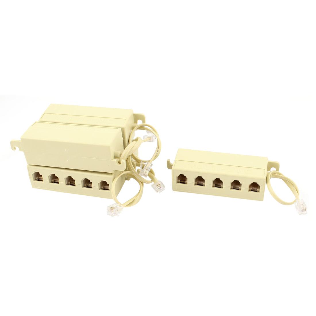 5 Pcs 5 Way Outlet 6P4C RJ11 Telephone Modular Jack Line Splitter Adapter Beige