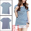 Women Stripes Panel Design Short Sleeve Casual Shirt Blue White S