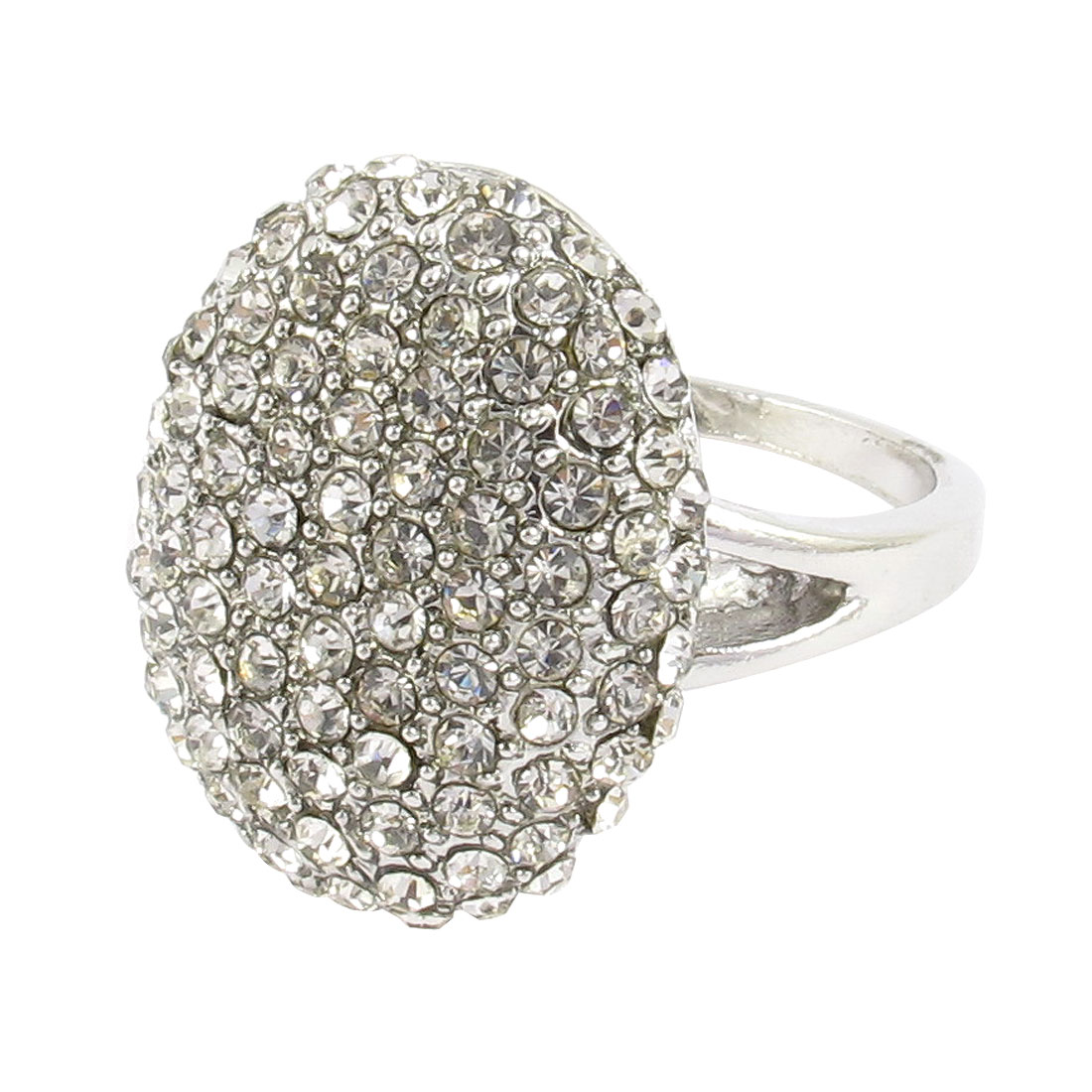 Woman Oval Style Rhinestone Inlaid Cluster Finger Ring Silver Tone US 8 3/4