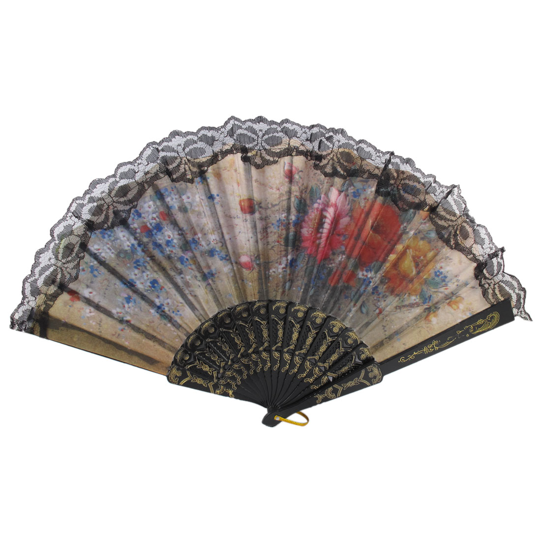 Pink Red Penoy Pattern Handheld Folded Lace Edge Hand Fan