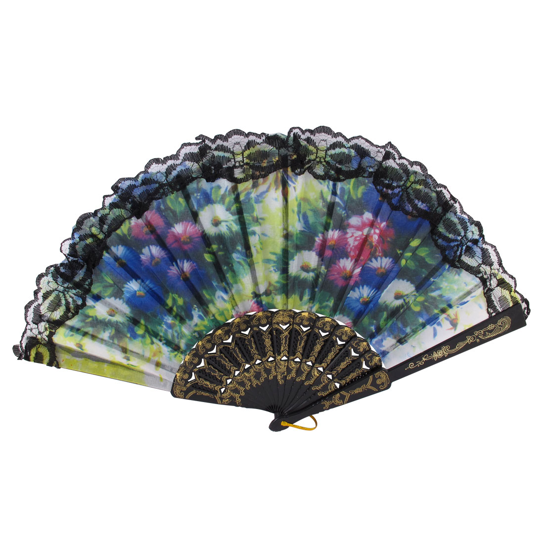 Carved Ribs Chrysanthemum Printed Wavy Lace Edge Spanish Style Hand Fan Black Gold Tone