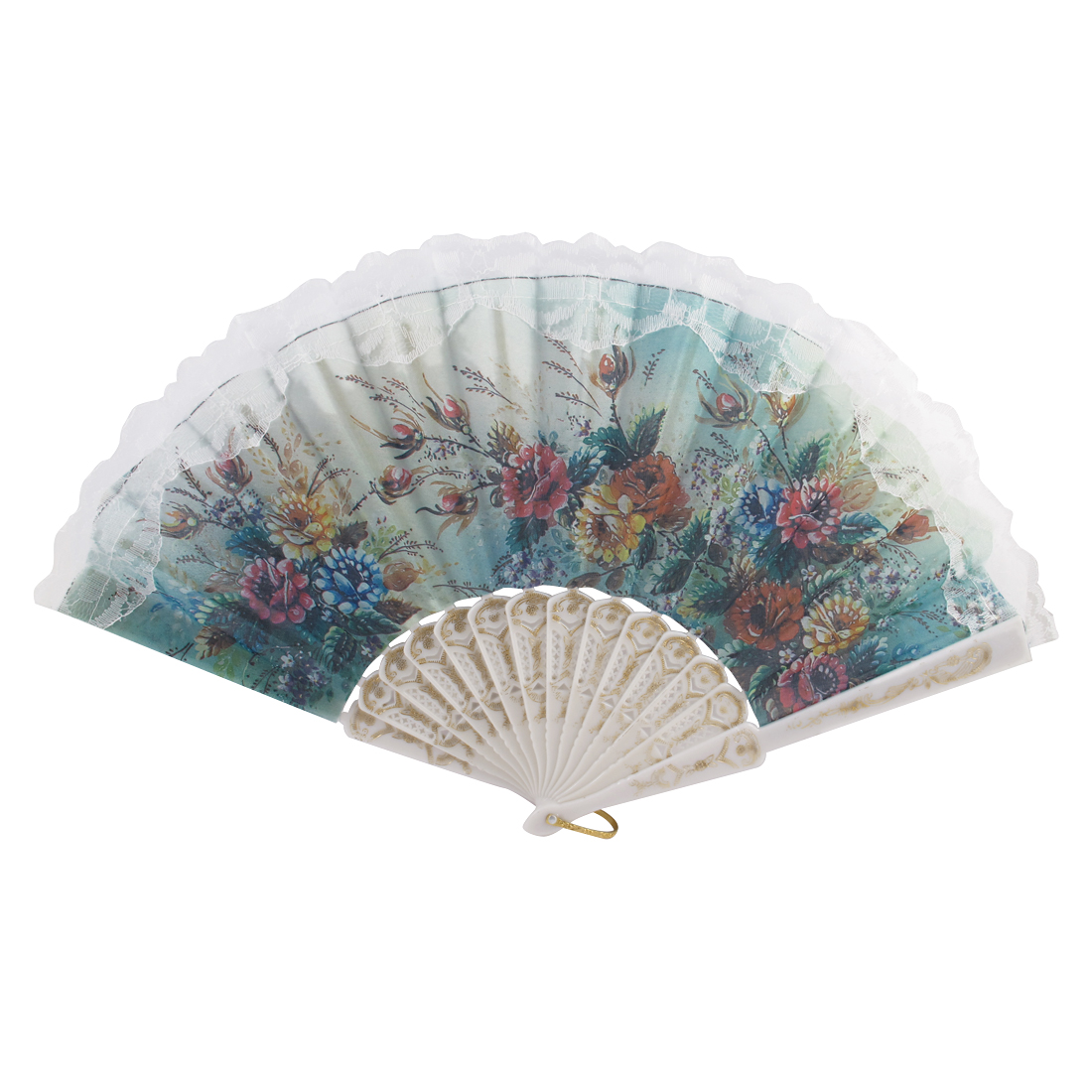 Lady Floral Pattern Lace Rim Spanish Style Hand Fan Wall Decoration