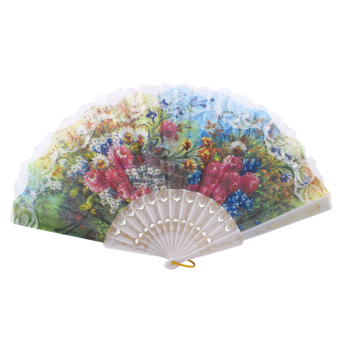 Multicolor Flowers Printed Spanish Style Handheld Dancing Hand Fan