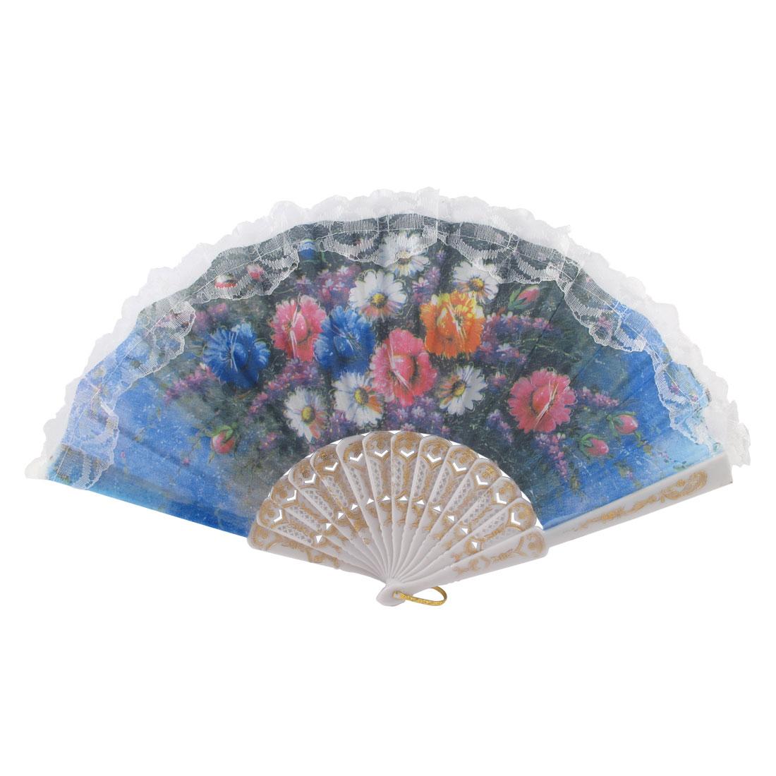 Summer White Plastic Frame Floral Pattern Spanish Style Folding Hand Fan