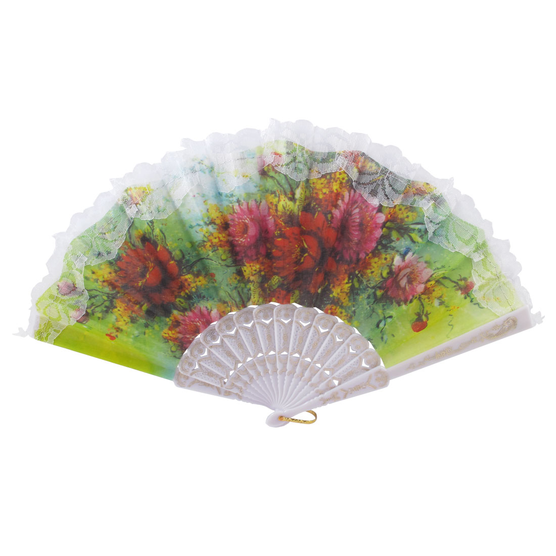 Red Peony Pattern Lace Rim Summer Spanish Style Hand Fan Christmas Gift