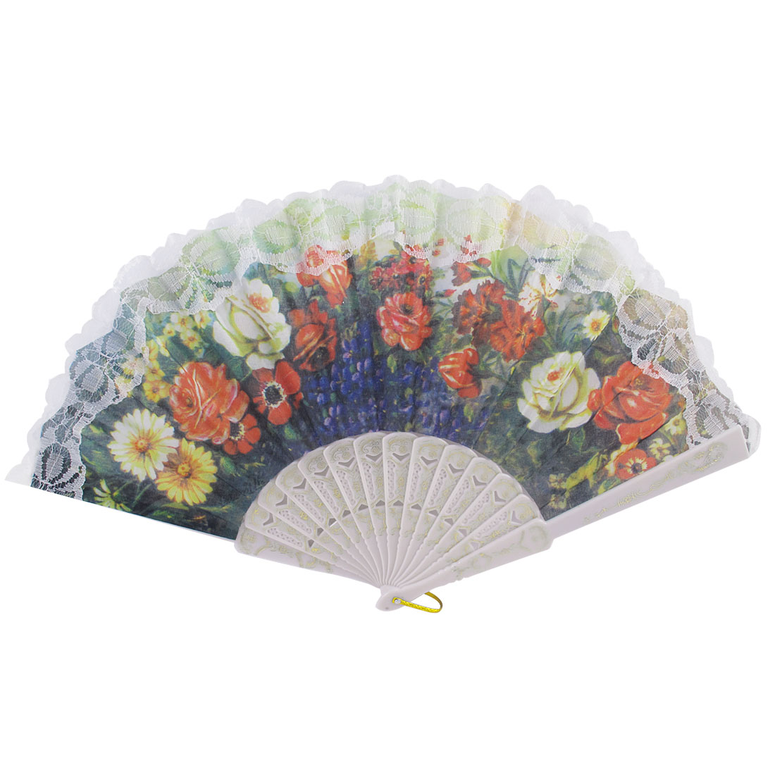 White Ribs Flowers Pattern Lace Edge Fanning Spanish Style Hand Fan Christmas Gift