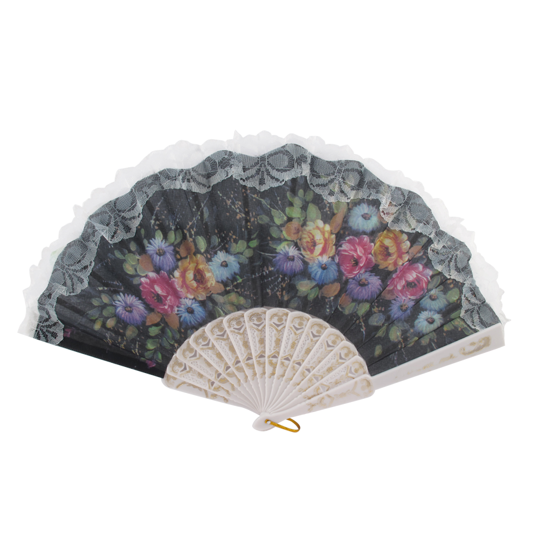 Outdoor Hook Decor Lace Trim Summer Spanish Style Hand Fan Wall Decoration
