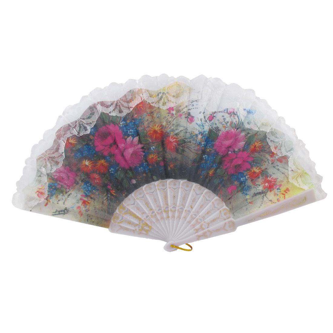 White Lace Edge Art Craft Folded Dancing Spanish Hand Fan Decorative Design