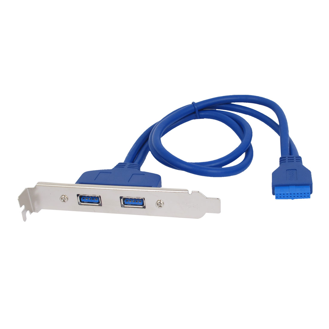Blue 2 Port USB 3.0 A Female to 20 Pin Female Header PC Motherboard Rear Panel Expansion Bracket Host Cable Adapter