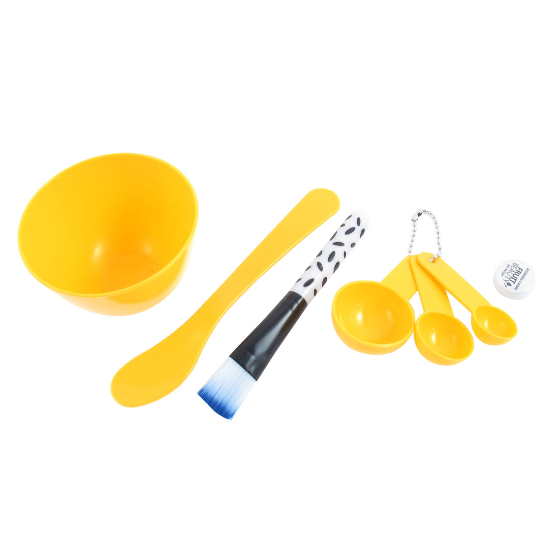 Beauty DIY Facial Mask Bowl Brush Spoon Stick Cosmetic Tool 6 in1 Set Yellow