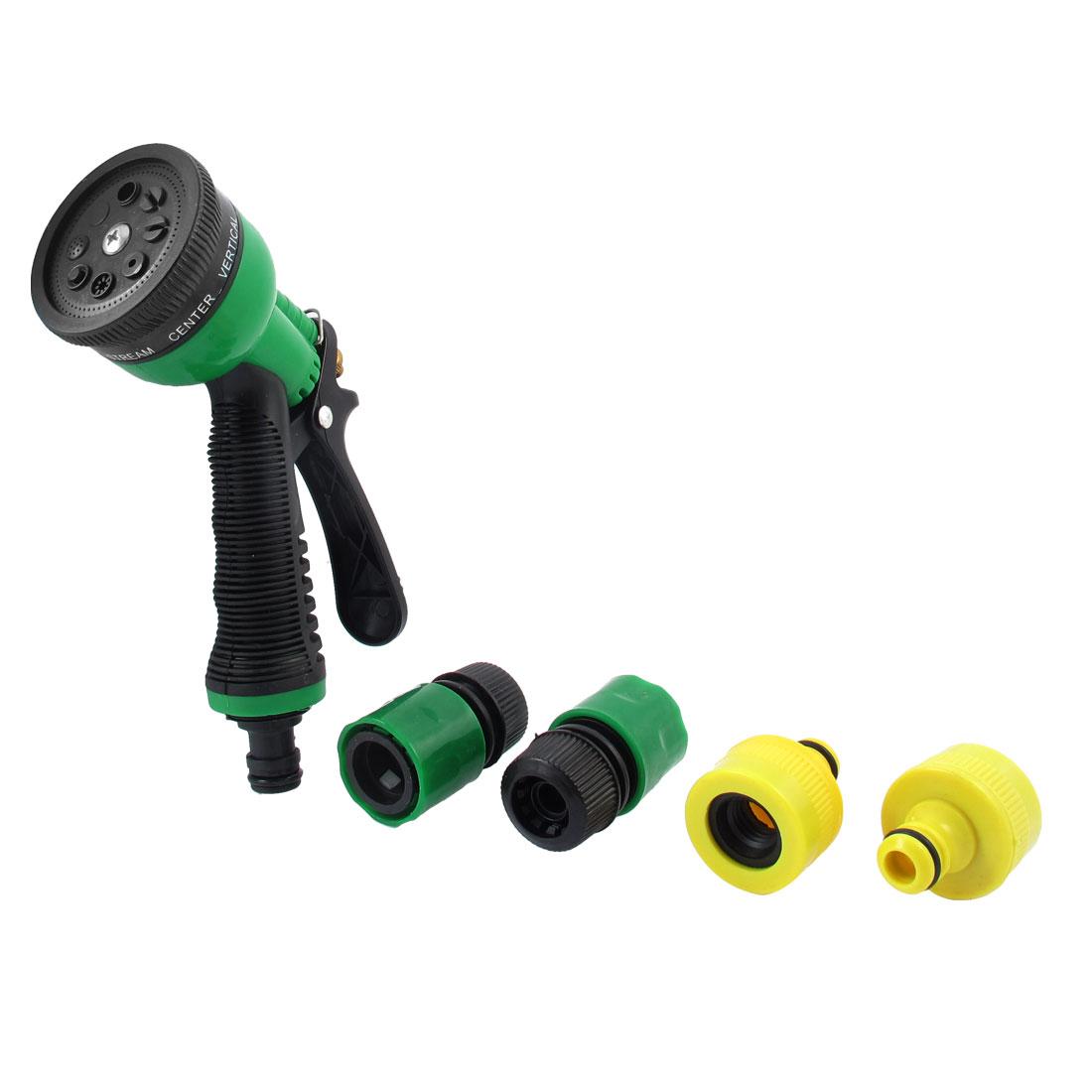 Tricolor Plastic Garden Lawn Water Spray Washer Hose Nozzle Gun w 4 Connectors