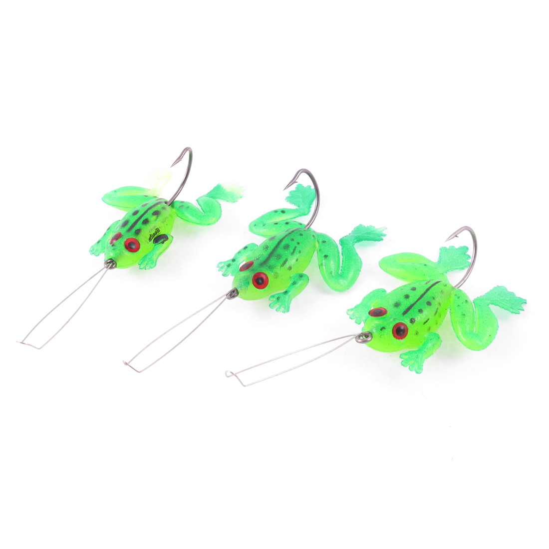 Sea River Rubber Fishing Frog Lure Bait Fish Hooks Line 3 Pcs Green