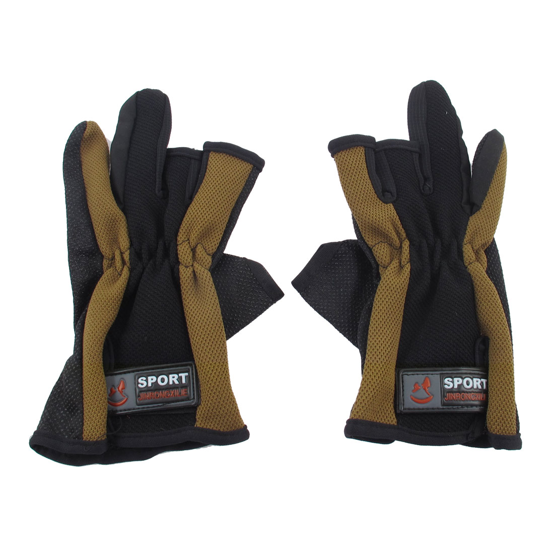 Pair Dotted Antislip Palm 3 Cut Fingers Fishing Shooting Hunting Gloves Brown