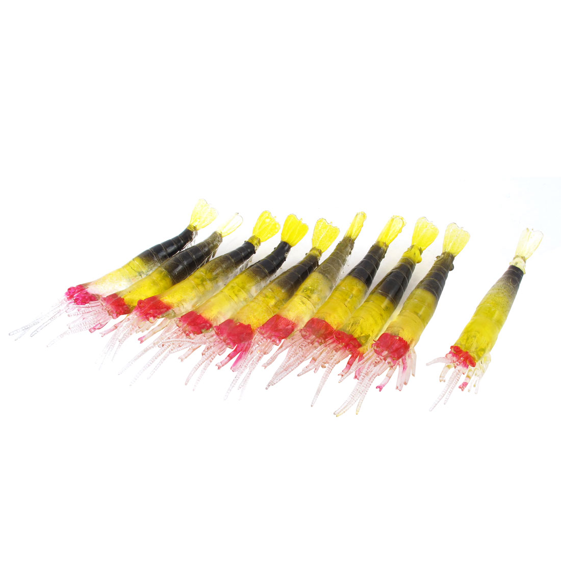 10 Pcs Silicone Artificial Fishing Bait Shrimp Lure Clear Yellow Black