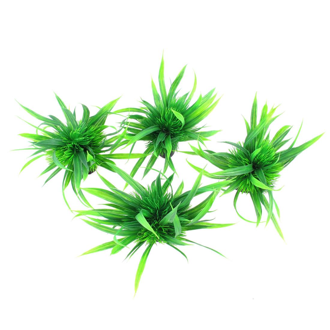 "4pcs 4"" Height Green Aquarium Ornament Plastic Underwater Grass Plants"