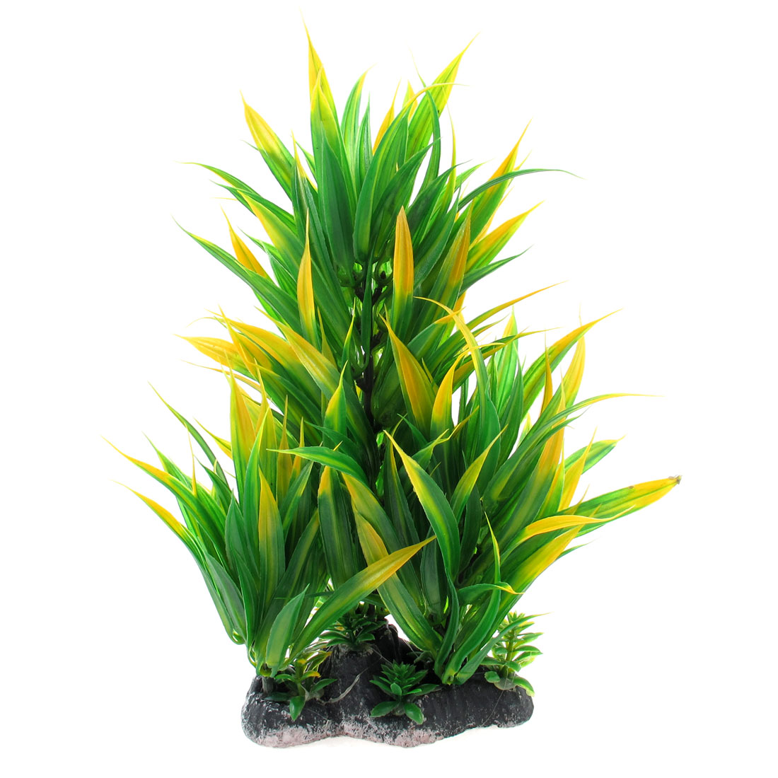 27cm Height Green Yellow Plastic Aquarium Ornament Underwater Grass Plants