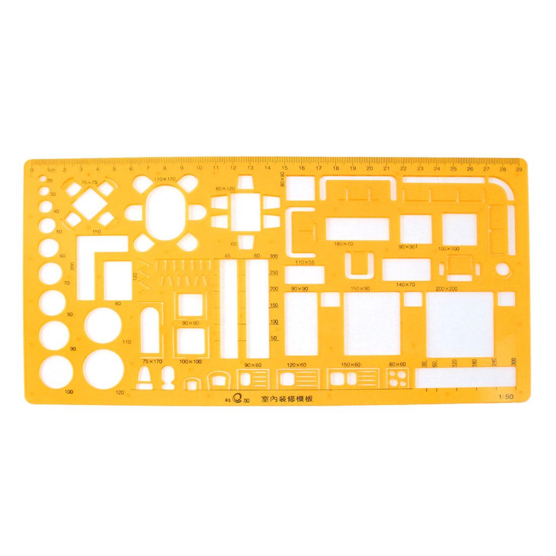 Orange Plastic 29cm Measure Geometric Drafting Drawing Upholstery Template Ruler