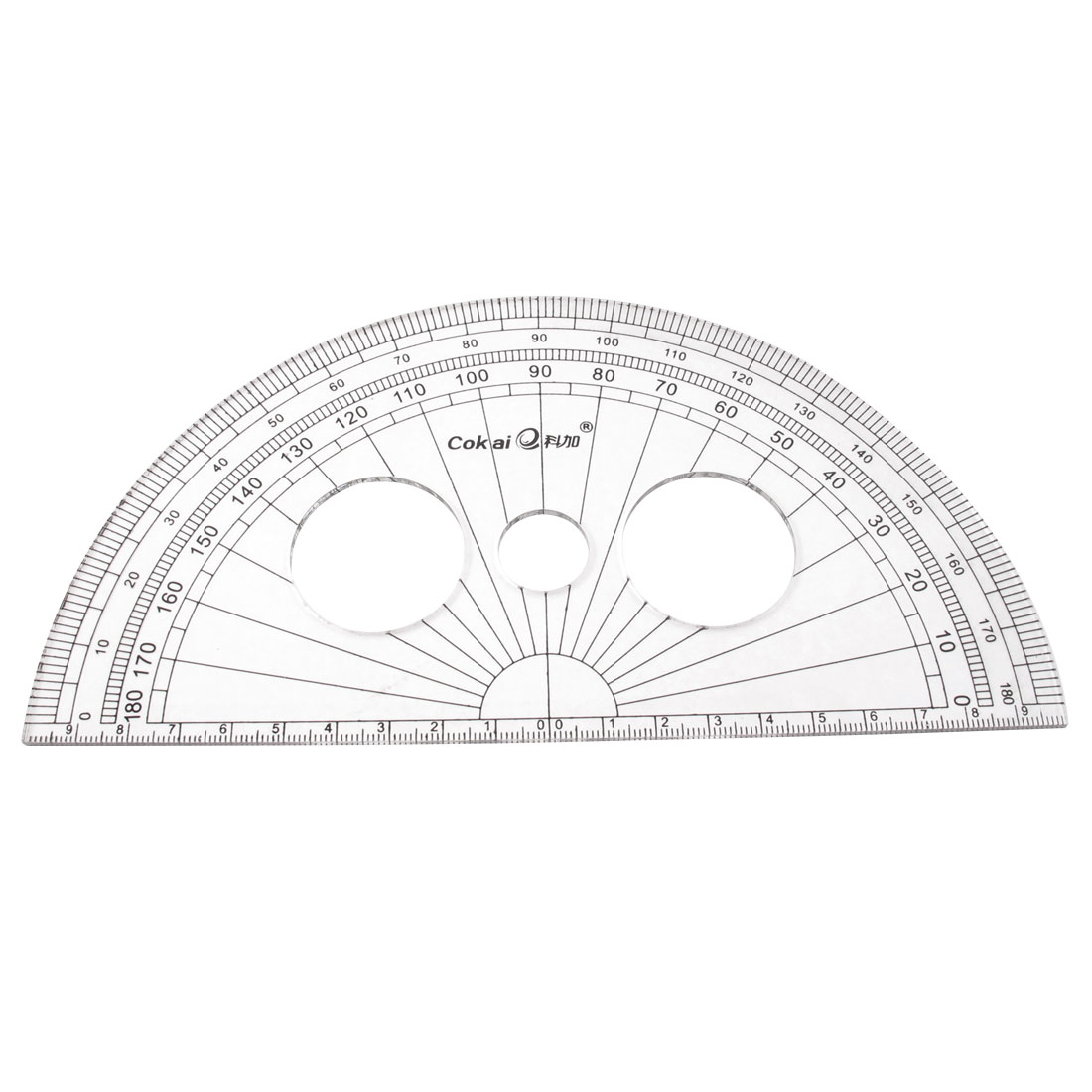 School Office Stationery Plastic 0-180 Degree Protractor Ruler Clear 20cm Long