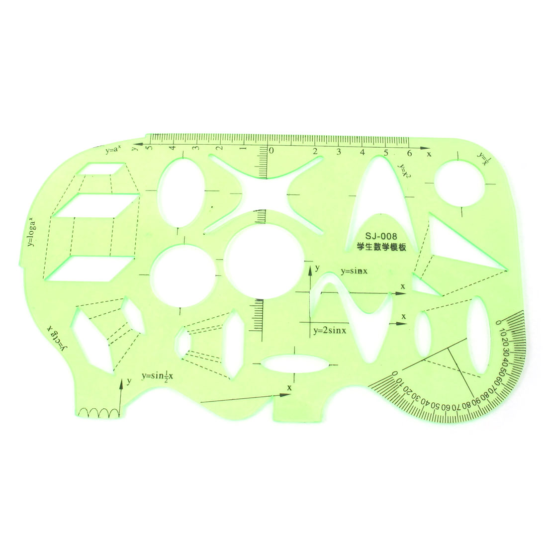 Students Clear Green Plastic Maths Drawing Protractor Template Ruler