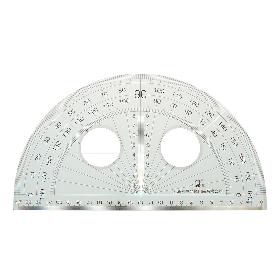 School Office Stationery Plastic 0-180 Degree Protractor Ruler Clear 25cm Long