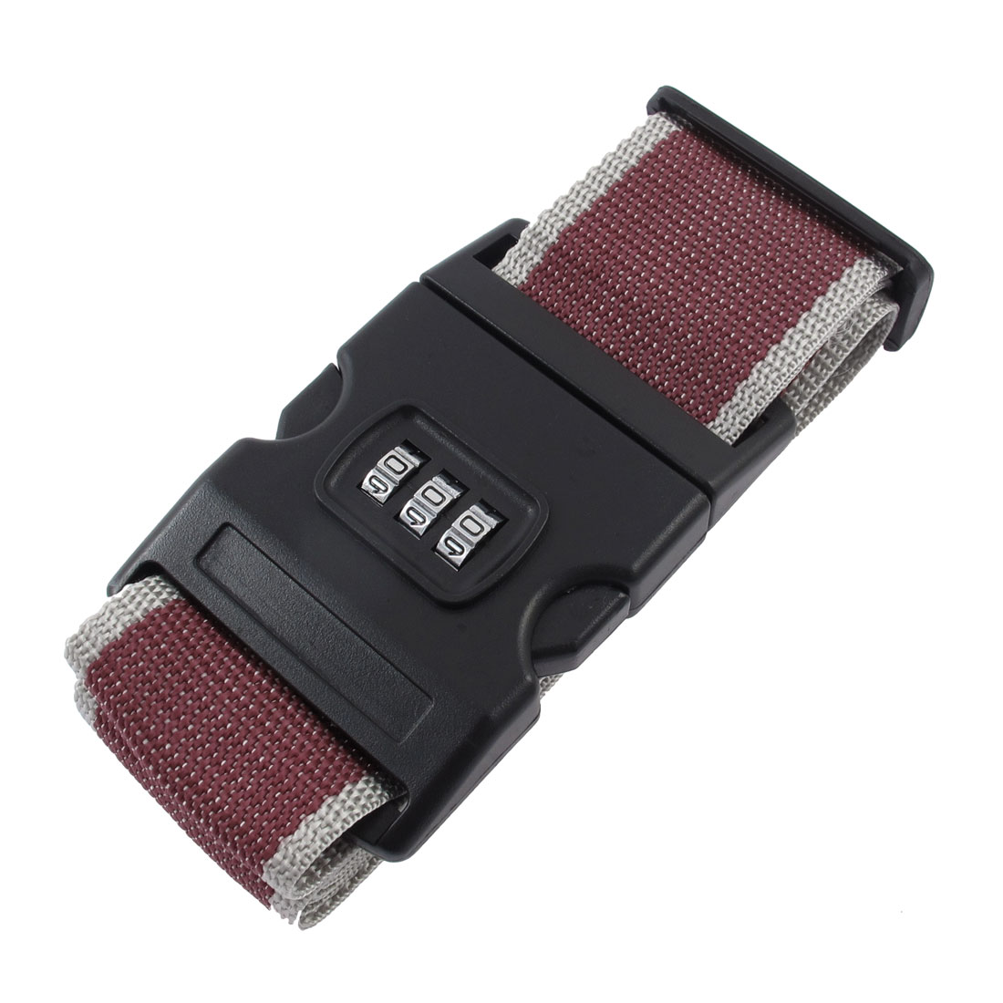 Adjustable Combination Luggage Strap Travel Baggage Tie Down Belt Lock Gray Red