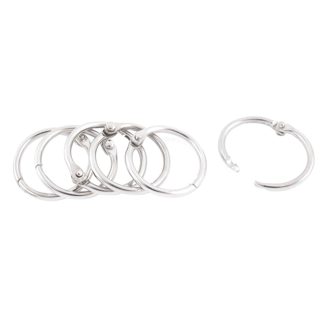 Book Office Metal Loose Leaf Binder Hinge Snap Ring Keyring Silver Tone 6pcs