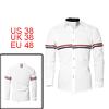 Men Button Down Long Sleeves Point Collar Casual Shirts White M