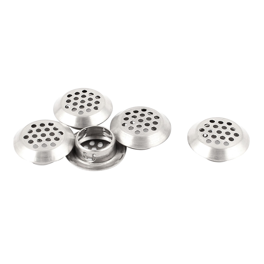5Pcs 19mm Bottom Dia Round Stainless Steel Perforated Mesh Air Vents Louvers