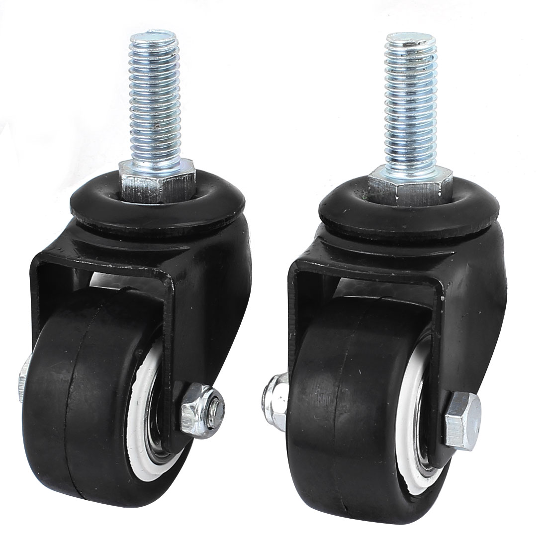 "Office Computer Chairs M10 Thread Stem 1.6"" Dia Rubber Swivel Caster Wheel 2pcs"